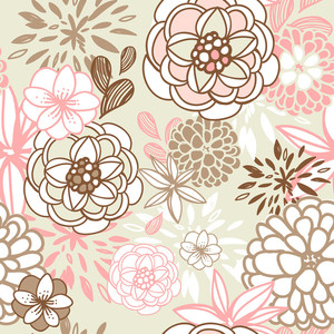 Retro Floral Seamless Background. Romantic Seamless Pattern In Vector