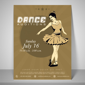 Retro Flyer for dance audition with a dancing girl place holder