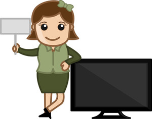 Retro Girl With Modern Tv - Business Cartoons Vectors