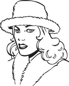Retro Girl With Stylish Hat.
