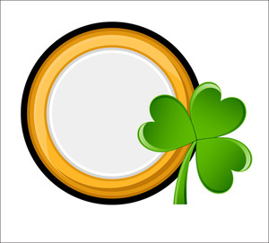 Retro Gold Coin With Clover Vector