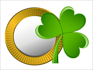 Retro Golden Coin With Clover Leaf Vector