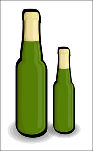 Retro Green Beer Bottles Shapes