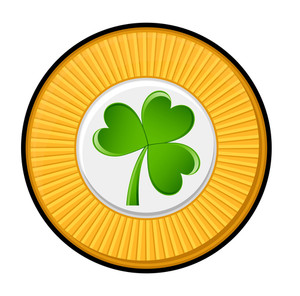 Retro Green Shamrock Yellow Coin Vector
