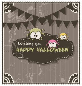 Retro Halloween Funny Spiders Banner