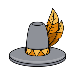 Retro Hat With Leaves Vector
