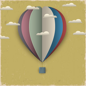 Retro Hot Air Balloon And Clouds From Paper