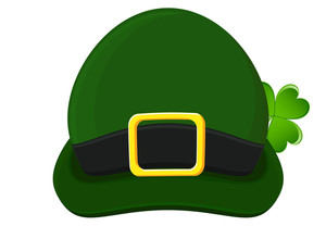 Retro Leprechaun Hat Design With Clover Leaf