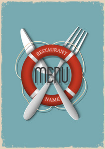 Retro Menu Design For Seafood Restaurant - Variation 3