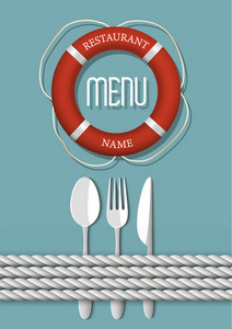 Retro Menu Design For Seafood Restaurant - Variation 4
