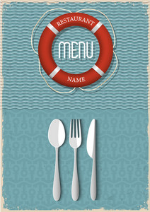Retro Menu Design For Seafood Restaurant