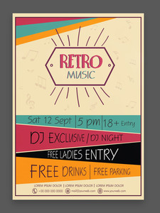Retro Music Party celebration vintage flyer banner or template design with date