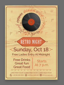 Retro Music Party celebration vintage flyer banner or template design.