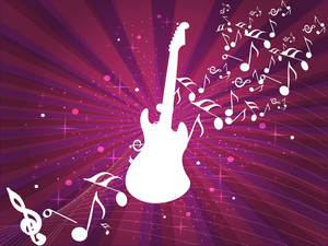 Retro Musical Background With Guitar And Musical Notes On Abstract Rays And Wave Background