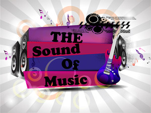 Retro Musical Background With Guitar And  Text On Floral Rays  Background.