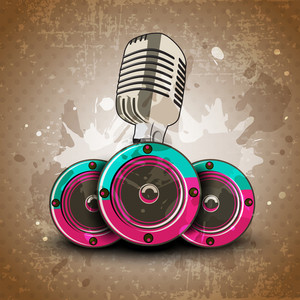 Retro Musical Background With Microphone And Speakers