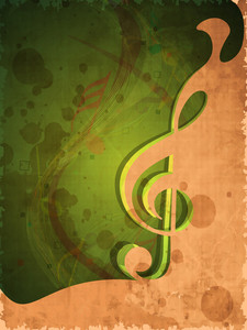Retro Musical Background With Musical Note