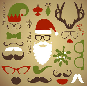 Conjunto de festa retro - Barba do Papai Noel