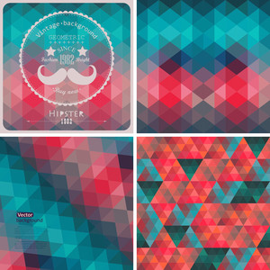 Retro Pattern Of Geometric Shapes. Colorful Mosaic Banners. Geometric Hipster Retro Background With Place For Your Text. Retro Triangle Background. Set Of Four Geometric Templates.