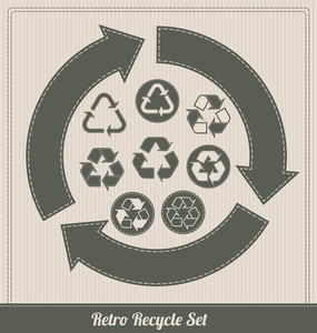 Retro Recycle Symbol Set