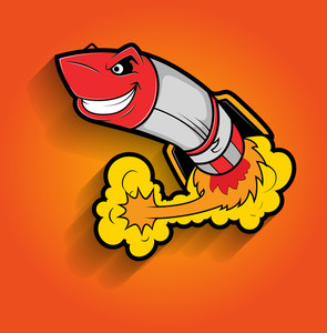 Retro Rocket Vector Mascot