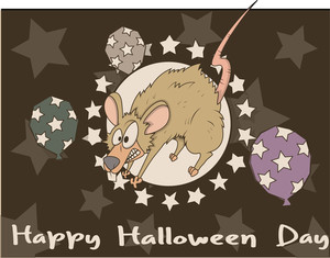 Retro Scared Mouse Halloween Background