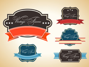 Retro Set Of Label And Tags With Grunge Effect