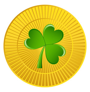 Retro Shamrock Gold Coin