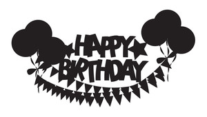 Retro Shape Of Birthday Balloons Banner