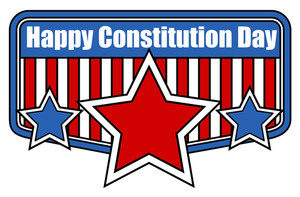 Retro Shield Style Badge Constitution Day Vector Illustration