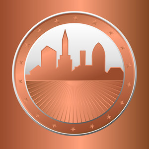 Retro Skyline Coin Vector