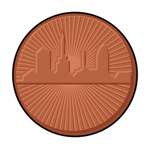 Retro Skyscraper Coin Vector