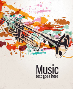 Retro Splatter Music Background Vector Illustration
