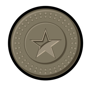 Retro Star Coin Vector Element