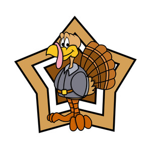 Retro Star Turkey Character Graphic Vector