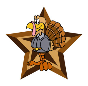 Retro Star Turkey Character