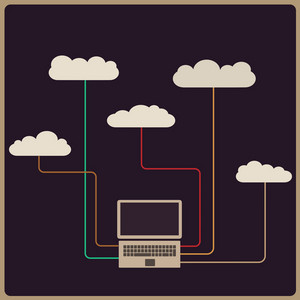 Retro Style Cloud Computing Concept