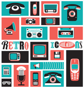 Retro Style Media Icons | Vintage-Elemente | Nostalgisches Design | Good Old Days Gefühl | Hipster Trend | Vector Set