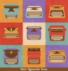 Retro Style Typewriter Icons | Vintage Elements | Nostalgic Design | Vector Set