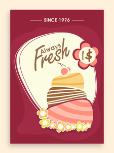 Retro stylish menu card design for sweet shop or restaurant.