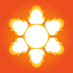 Retro Sun Floral Design Element