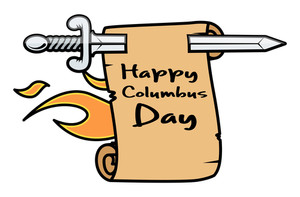 Retro Sword Columbus Day Parchment Banner