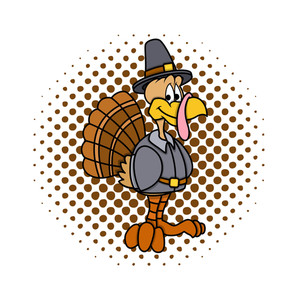 Retro Turkey Bird Character
