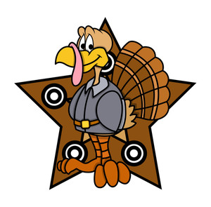 Retro Turkey Character With Star Graphic