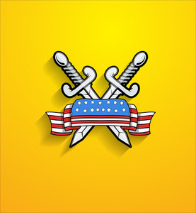 Retro Usa Ribbon Banner Woth Cross Swords