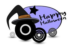 Retro Witch Hat Halloween Background