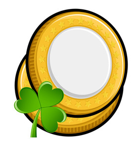 Retro Yellow Coins With Shamrock