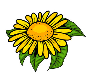 Retro Yellow Flower Vector Design