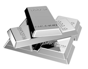 Rhodium Ingots Isolated On White.