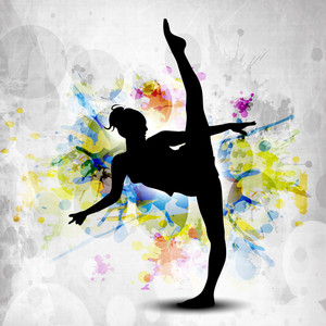 Rhythmic Gymnastic Girl Illustration On Colorful Grunge Background. Eps10.